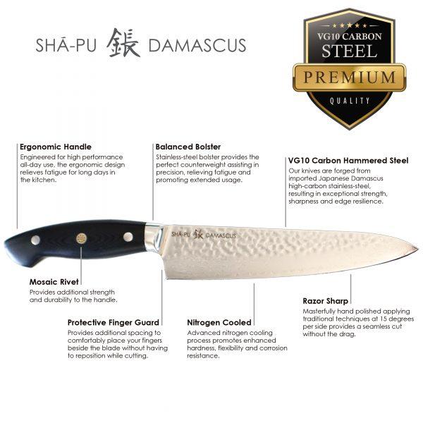Sha-Pu-Hammered-Damascus-Black-Ergonomic-Handel