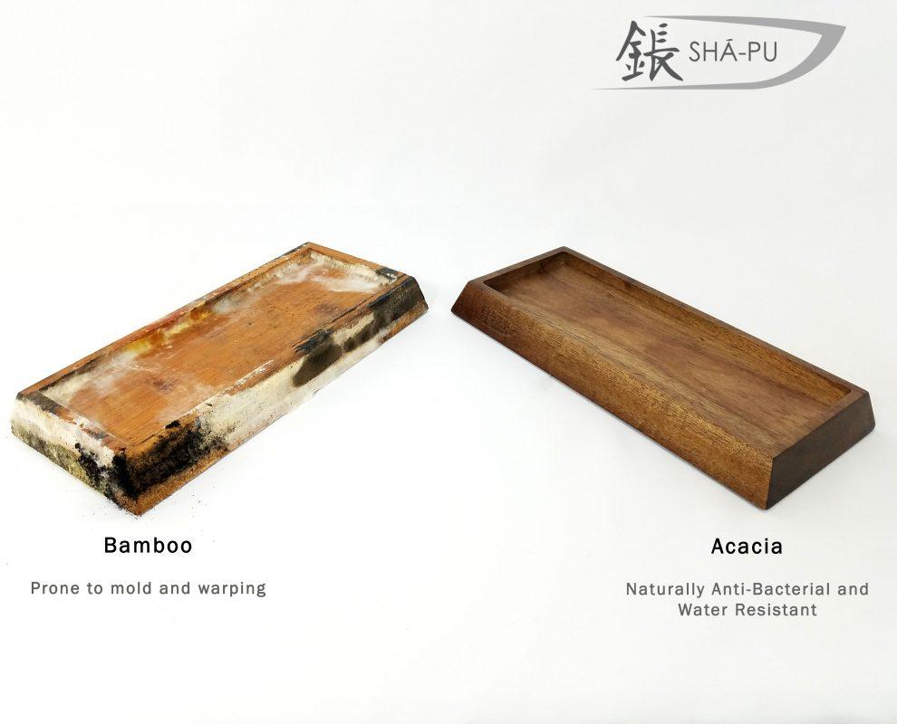 Comparison of an Acacia wood Whetstone Sharpening base and a moldy bamboo whetstone sharpening base